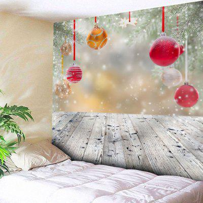 Wall Hanging Christmas Ball Wood Print Tapestry