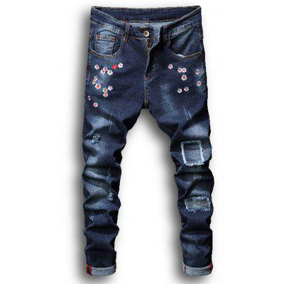Zipper Fly Flowers Embroidered Bleached Ripped Jeans