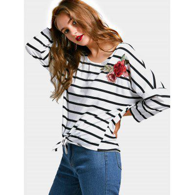 Flower Appliqued Striped Self Tie Hem Tee