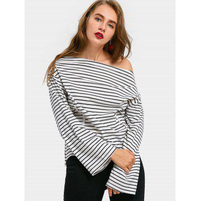 Convertible Neck Side Slit Striped Tee