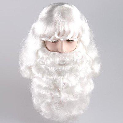 Long Side Bang Shaggy Curly Santa Claus Cosplay Wig With Beard