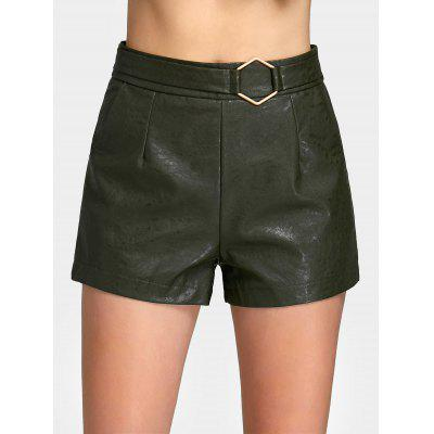 Buy ARMY GREEN L Metal Geometry PU Leather High Waist Shorts for $22.63 in GearBest store