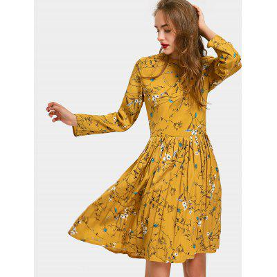 Long Sleeve Floral Print Pleated Dress