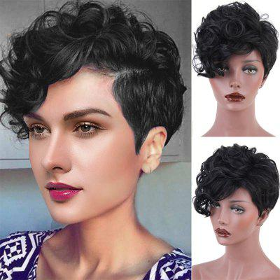 Short Side Bang Shaggy Layered Curly Synthetic Wig