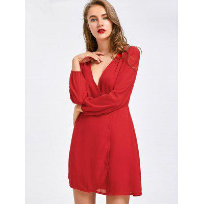 Low Cut Mini Chiffon Dress