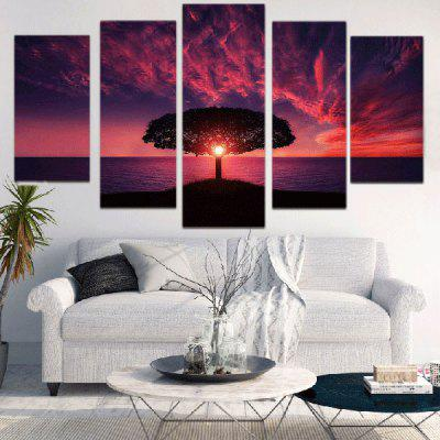 Sunset Glow Seascape Printed Split Unframed Canvas Paintings