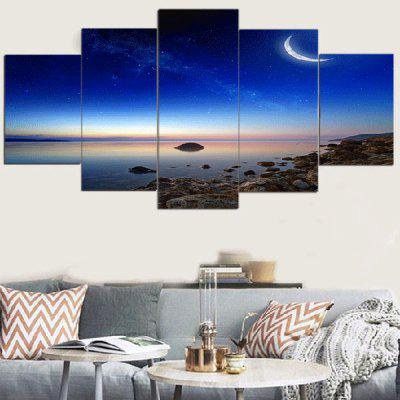 Starry Moonlight Scenery Printed Canvas Paintings
