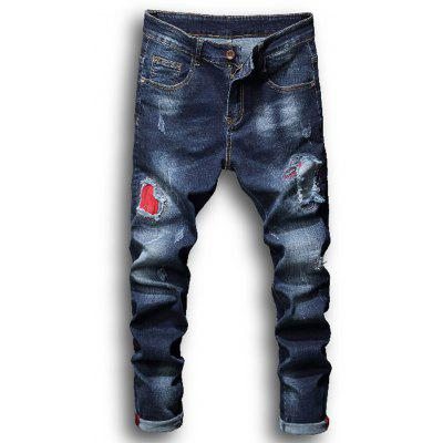 Zipper Fly Patch Bleached Effect Ripped Jeans