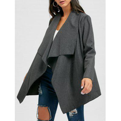 Draped Open Front Asymmetric Cardigan