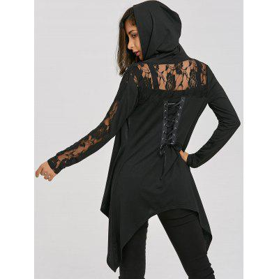 Lace Panel Hooded Lace-up Asymmetric Jacket