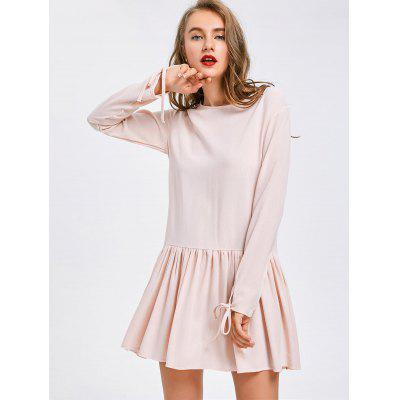 Long Sleeve Back Button Flare Dress