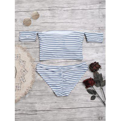 Off Shoulder Striped BikiniLingerie &amp; Shapewear<br>Off Shoulder Striped Bikini<br><br>Bra Style: Padded<br>Elasticity: Elastic<br>Gender: For Women<br>Material: Chinlon<br>Neckline: Off The Shoulder<br>Package Contents: 1 x Top  1 x Briefs<br>Pattern Type: Striped<br>Support Type: Wire Free<br>Swimwear Type: Bikini<br>Waist: Natural<br>Weight: 0.2200kg