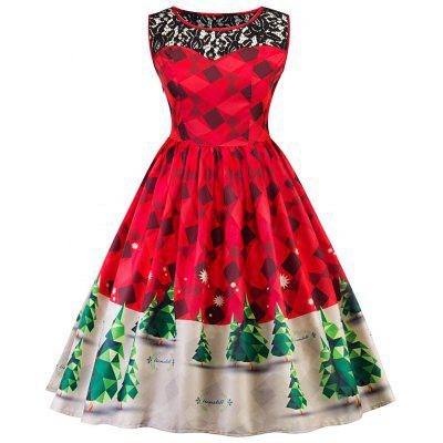 Vintage Lace Insert Christmas Pin Up Skater Dress