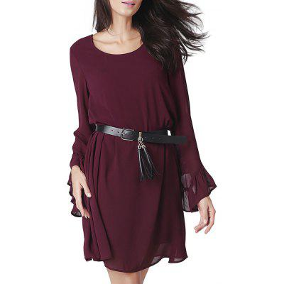 Bell Sleeve Cut Out Mini Chiffon Dress