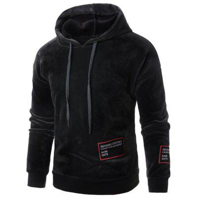 Hooded Drawstring Graphic Appliques Fleece Hoodie
