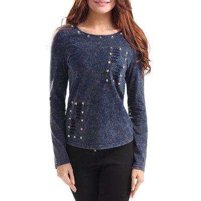 Long Sleeve Rhinestone Cut Out Ripped T-shirt