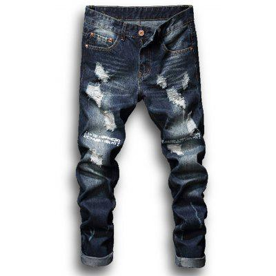 Zipper Fly Graphic Print Bleached Ripped Jeans