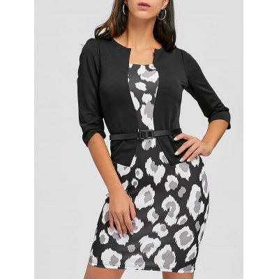 Faux Two Piece Print Belted Bodycon Dress