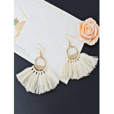 Vintage Fan Tassel Embellished Hollow Out Tassel Drop Earrings vintage hollow out leaf tassel torque for women
