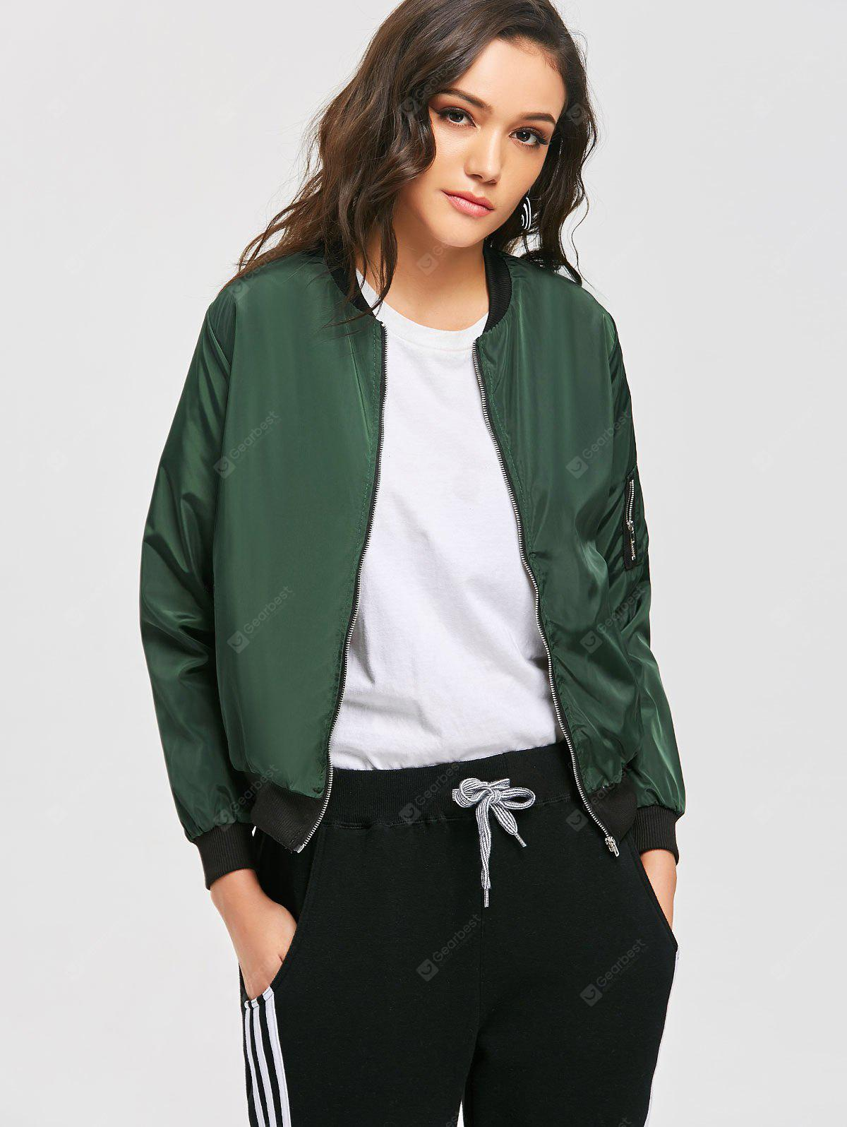 Zippered Pocket Sleeve Bomber Jacket