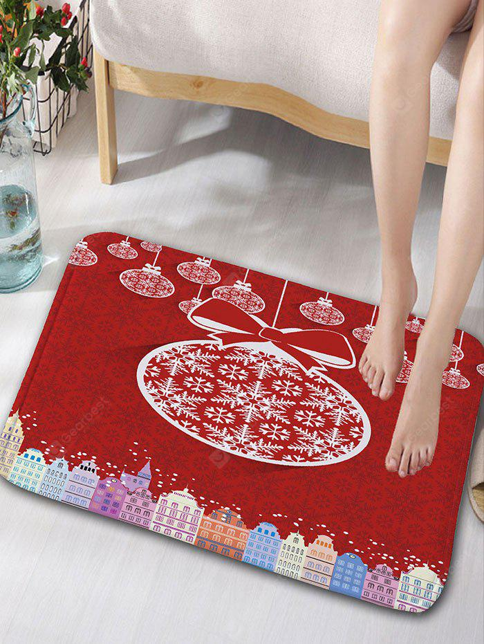 Christmas Balls and Buildings Print Flannel Antislip Bath Rug