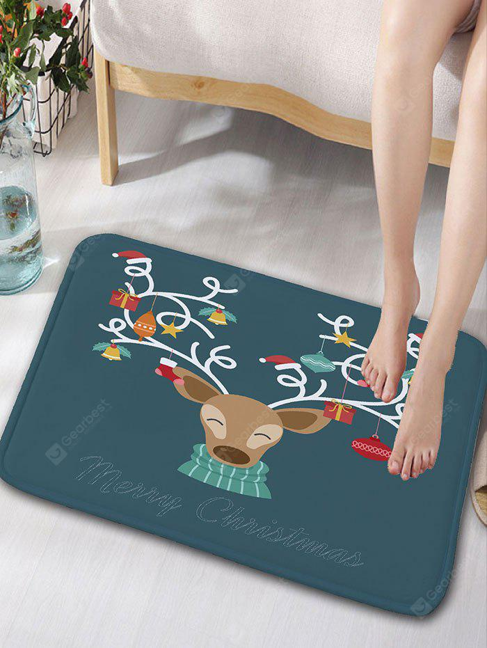 Cartoon Christmas Deer Print Nonslip Flannel Bath Rug
