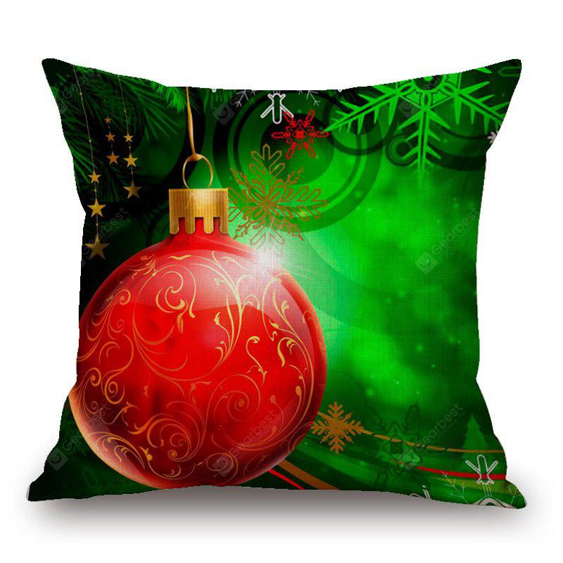 Christmas Snowflake Bauble Print Linen Pillowcase