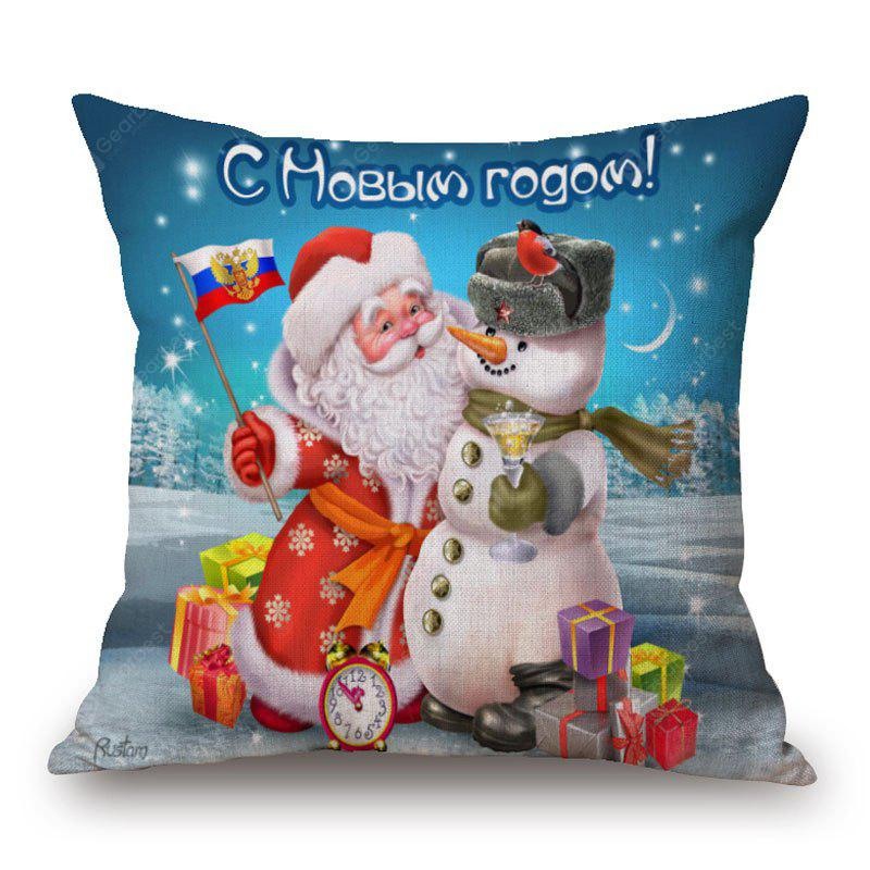 Christmas Snowman Santa Print Linen Pillowcase
