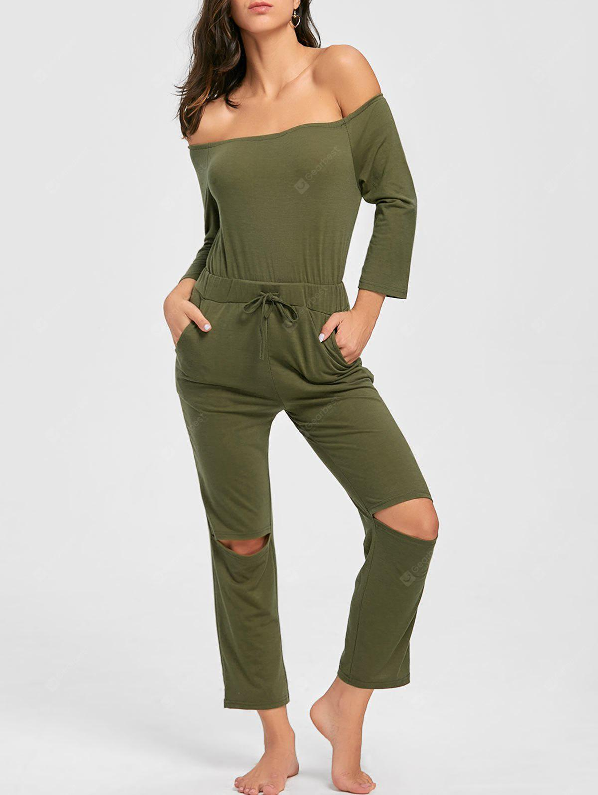 Knee Ripped Off The Shoulder Jumpsuit