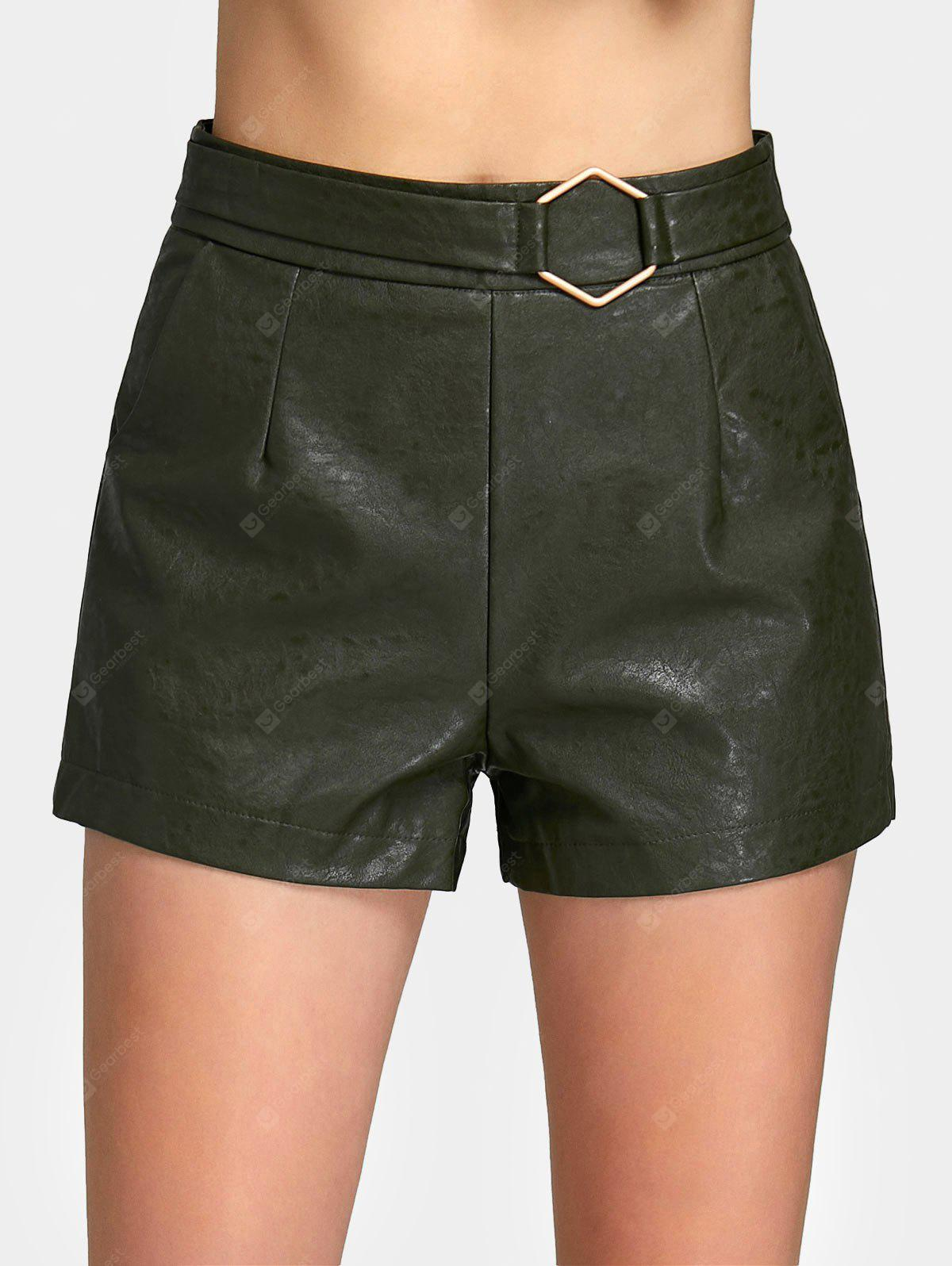 ARMY GREEN L Metal Geometry PU Leather High Waist Shorts