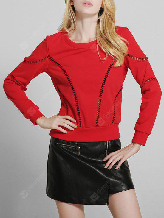 Crew Neck Hollow Out Pullover Sweater
