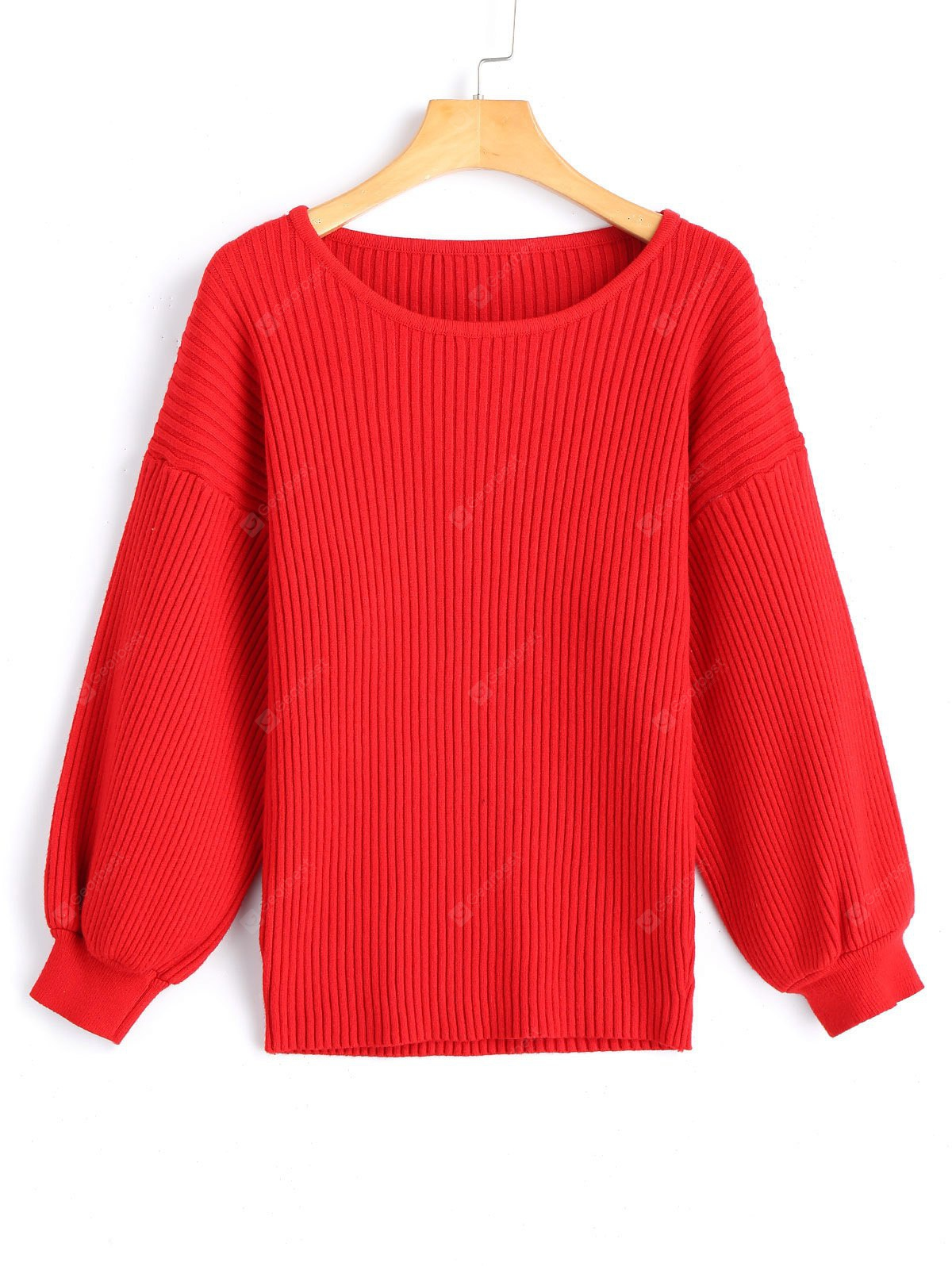 Ribbed Pullover Drop Shoulder Sweater