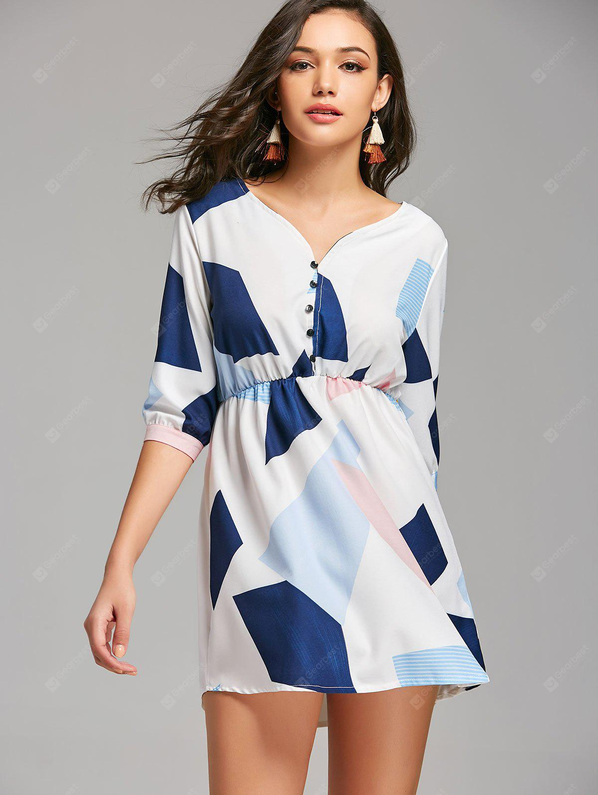 Geometric Half Zip Mini Casual Dress