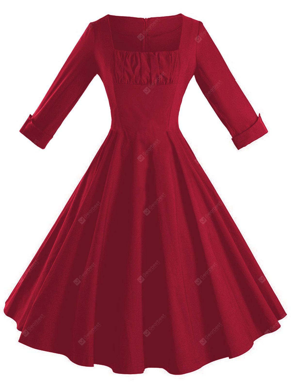 Square Neck Fit and Flare Vintage Dress