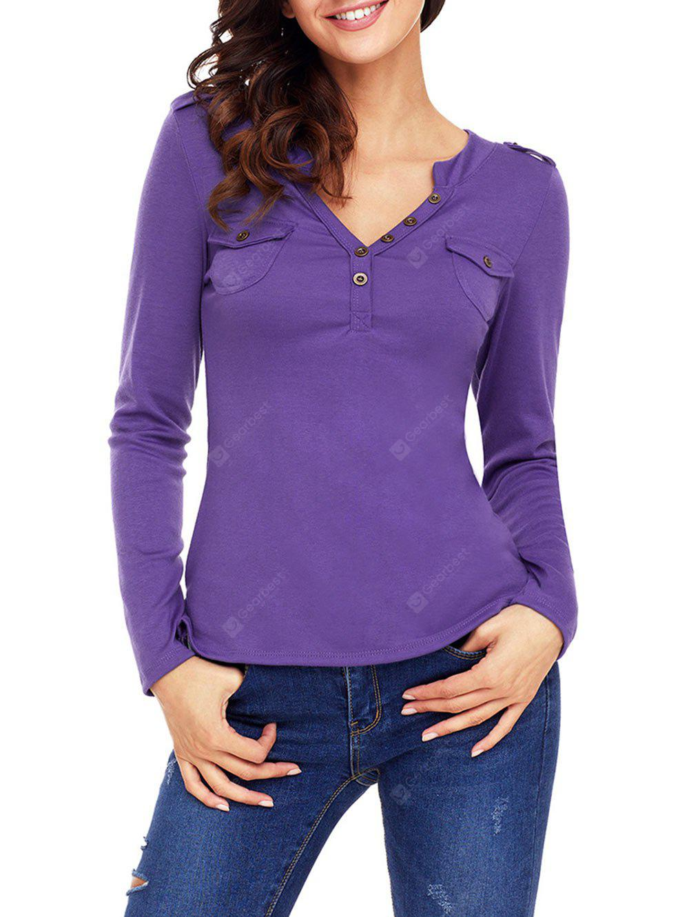Buttons V Neck Long Sleeve Top