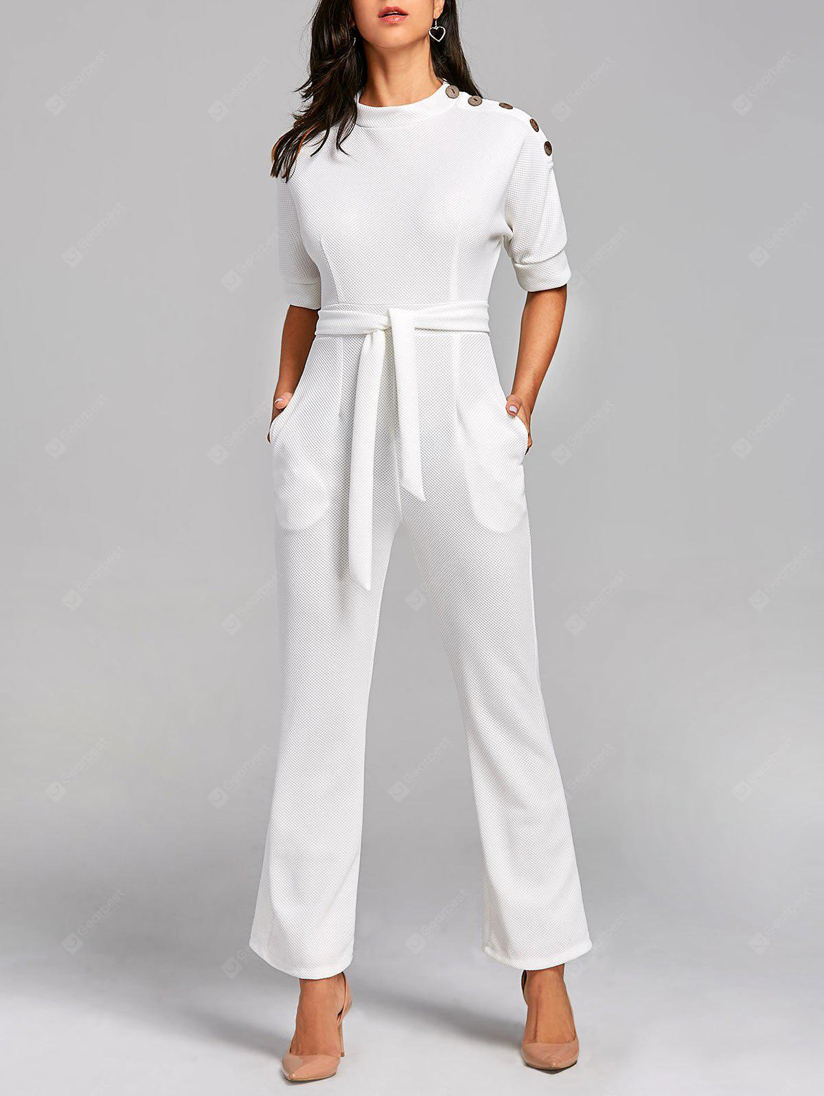 Convertible Collar Belted Jumpsuit