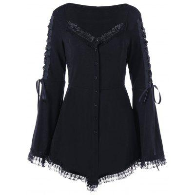 Lace Up Flare Sleeve Gothic Top
