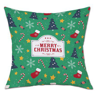 Christmas Theme Print Linen Pillowcase