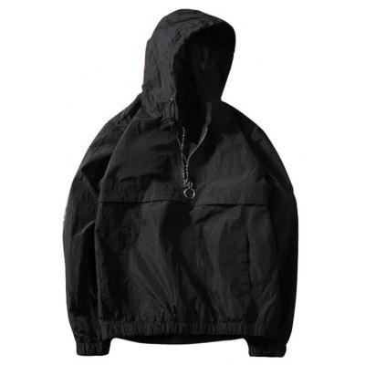 Buy BLACK M Hooded Windbreaker Jacket for Men for $32.69 in GearBest store