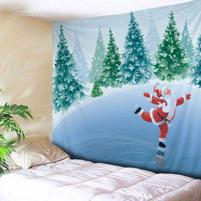 Wall Hanging Art Christmas Forest Santa Print Tapestry