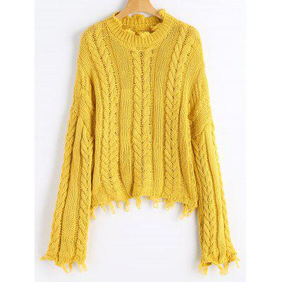 Frayed Hem Cable Knit Pullover Sweater