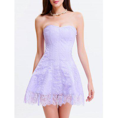 Buy LIGHT PURPLE L Tie Up Zipper Gothic Lace Corset Dress for $34.76 in GearBest store