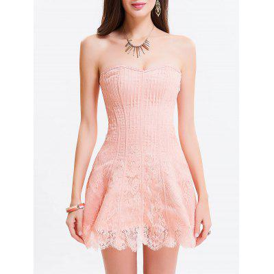 Buy LIGHT PINK S Tie Up Zipper Gothic Lace Corset Dress for $34.76 in GearBest store
