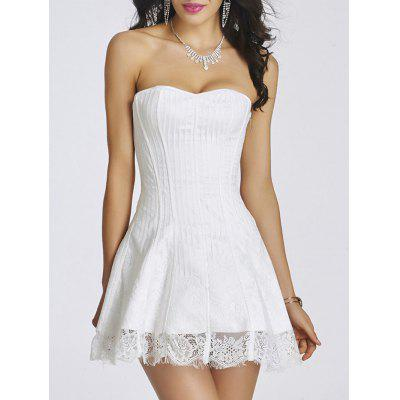 Buy WHITE XL Tie Up Zipper Gothic Lace Corset Dress for $34.76 in GearBest store