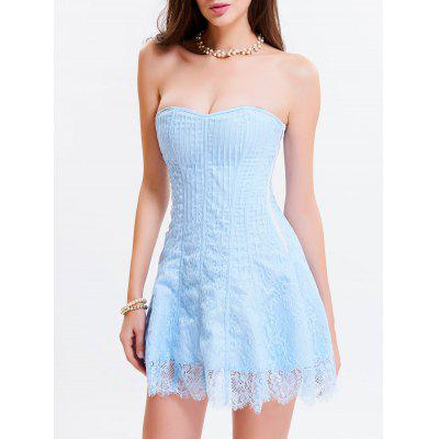 Buy LIGHT BLUE M Tie Up Zipper Gothic Lace Corset Dress for $34.76 in GearBest store