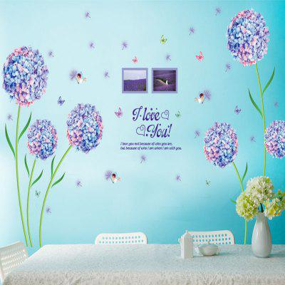 Flowers And Dandelion Love Printed Wall Sticker