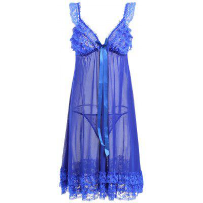 Buy BLUE Lace Ruffles Mesh Sheer Babydoll for $20.95 in GearBest store