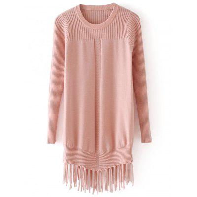 Ribbed Panel Tassels Pullover Sweater