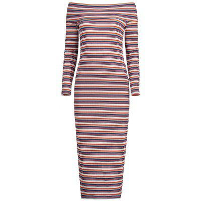 Buy STRIPE M Off The Shoulder Striped Knit Dress for $33.72 in GearBest store