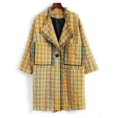 One Button Side Slit Checked Frayed Coat